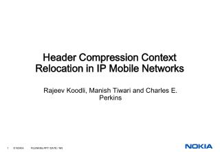 Header Compression Context Relocation in IP Mobile Networks