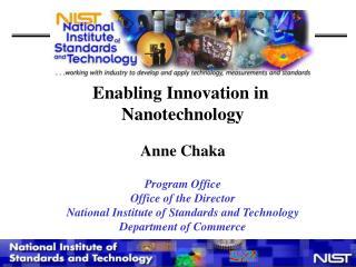Enabling Innovation in  Nanotechnology Anne Chaka Program Office Office of the Director