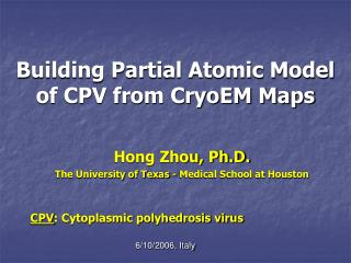 Building Partial Atomic Model of CPV from CryoEM Maps