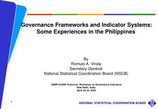 Governance Frameworks and Indicator Systems: Some Experiences in the Philippines