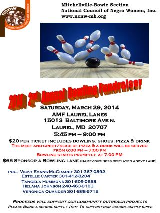 Saturday, March 29, 2014 AMF Laurel Lanes 15013  Baltimore Ave n. Laurel, MD  20707