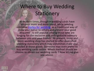 Where to buy wedding stationery