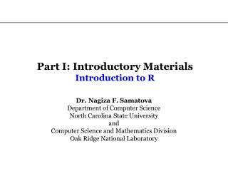 Part I: Introductory Materials Introduction to R