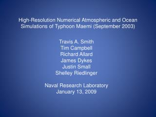 High-Resolution Numerical Atmospheric and Ocean Simulations of Typhoon Maemi (September 2003)