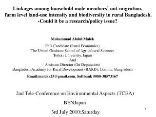 2nd Tele-Conference on Environmental Aspects (TCEA) BENJapan  3rd July  2010: Saturday