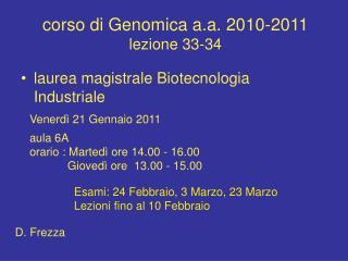 corso di Genomica a.a. 2010-2011 lezione 33-34