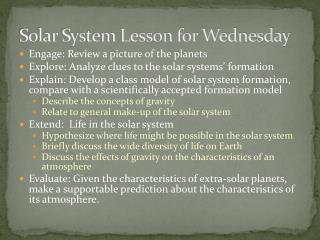 Solar System Lesson for Wednesday