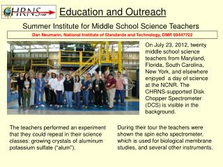Summer Institute for Middle School Science Teachers