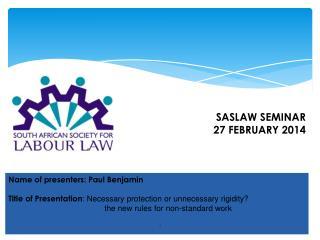 Name of presenters: Paul Benjamin
