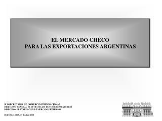 EL MERCADO CHECO PARA LAS EXPORTACIONES ARGENTINAS
