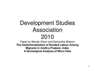 Development Studies Association  2010