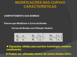 MODIFICA��ES NAS CURVAS CARACTER�STICAS