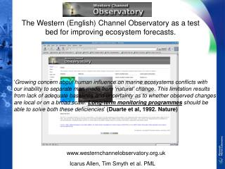 The Western (English) Channel Observatory as a test bed for improving ecosystem forecasts.