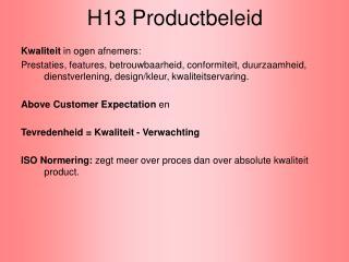 H13 Productbeleid
