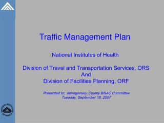 Traffic Management Plan National Institutes of Health