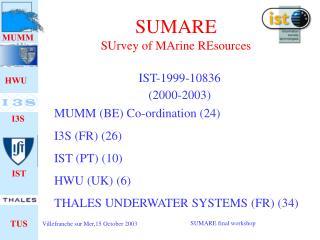 SUMARE SUrvey of MArine REsources