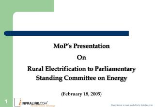 MoP�s Presentation On Rural Electrification to Parliamentary Standing Committee on Energy