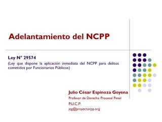 Julio César Espinoza Goyena Profesor de Derecho Procesal Penal P.U.C.P . jeg@proyectorpp