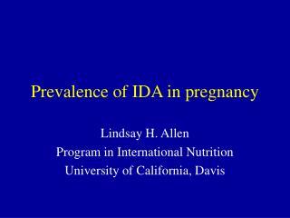 Prevalence of IDA in pregnancy