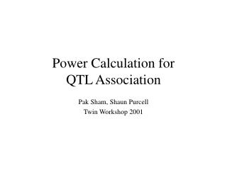 Power Calculation for  QTL Association