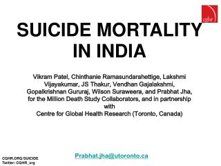 SUICIDE MORTALITY IN INDIA
