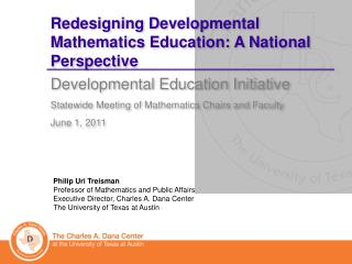 Redesigning Developmental Mathematics Education: A National Perspective