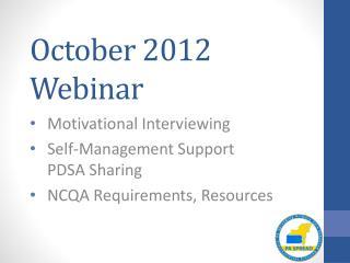 October 2012 Webinar