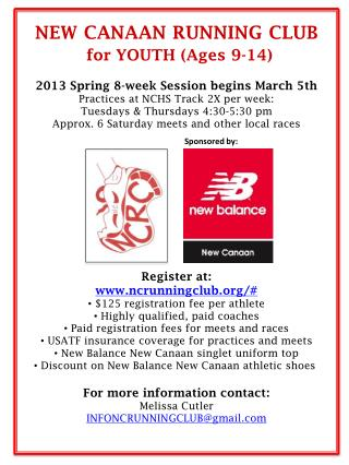 NEW  CANAAN  RUNNING CLUB  for YOUTH (Ages 9-14) 2013 Spring 8-week Session begins March 5th