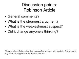 Discussion points: Robinson Article