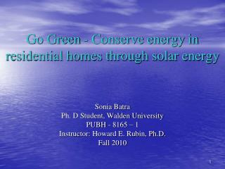 Go Green - Conserve energy in residential homes through solar energy
