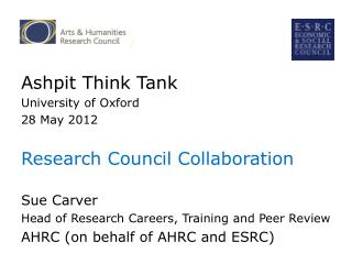 Ashpit Think Tank  University of Oxford   28 May 2012 Research Council Collaboration Sue Carver