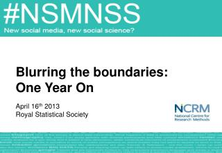 Blurring the boundaries:  One Year On April 16 th  2013 Royal Statistical Society