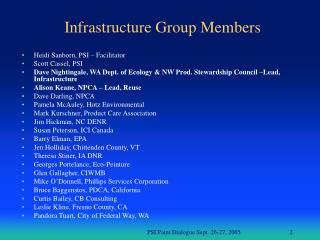 Infrastructure Group Members