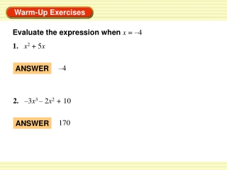2.1 Evaluate and Graph Polynomial Functions