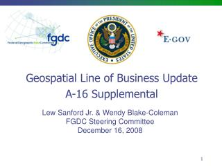 Geospatial Line of Business Update A-16 Supplemental