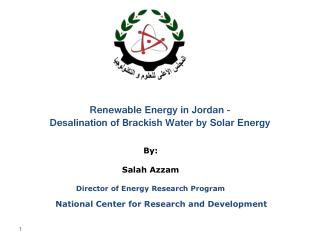 Renewable Energy in Jordan -  Desalination of Brackish Water by Solar Energy