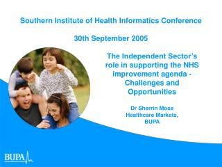 Southern Institute of Health Informatics Conference 30th September 2005