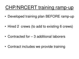 CHP/NRCERT training ramp-up