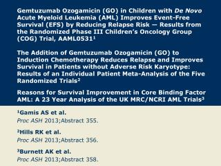 1 Gamis AS et al. Proc ASH  2013;Abstract 355. 2 Hills RK et al. Proc  ASH  2013;Abstract  356.