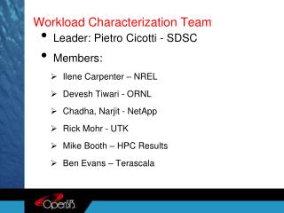 Workload Characterization Team