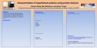 Characterization of hypothetical proteins using protein features