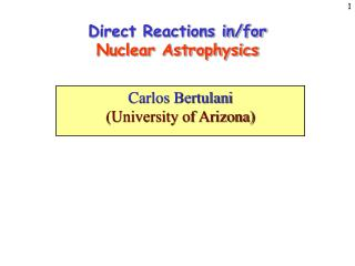Direct Reactions in/for Nuclear Astrophysics