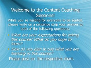 What are your expectations for taking this course? What do you hope to learn?