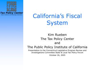 California's Fiscal System