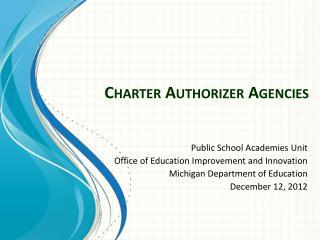 Charter Authorizer Agencies