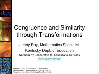 Congruence and Similarity through Transformations