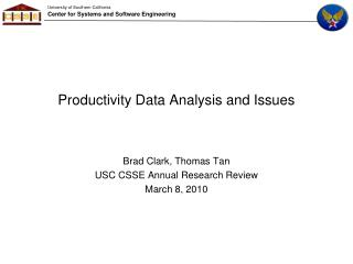 Productivity Data Analysis and Issues