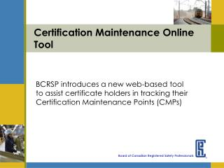 Certification Maintenance Online Tool