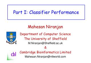 Part I: Classifier Performance