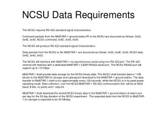 NCSU Data Requirements
